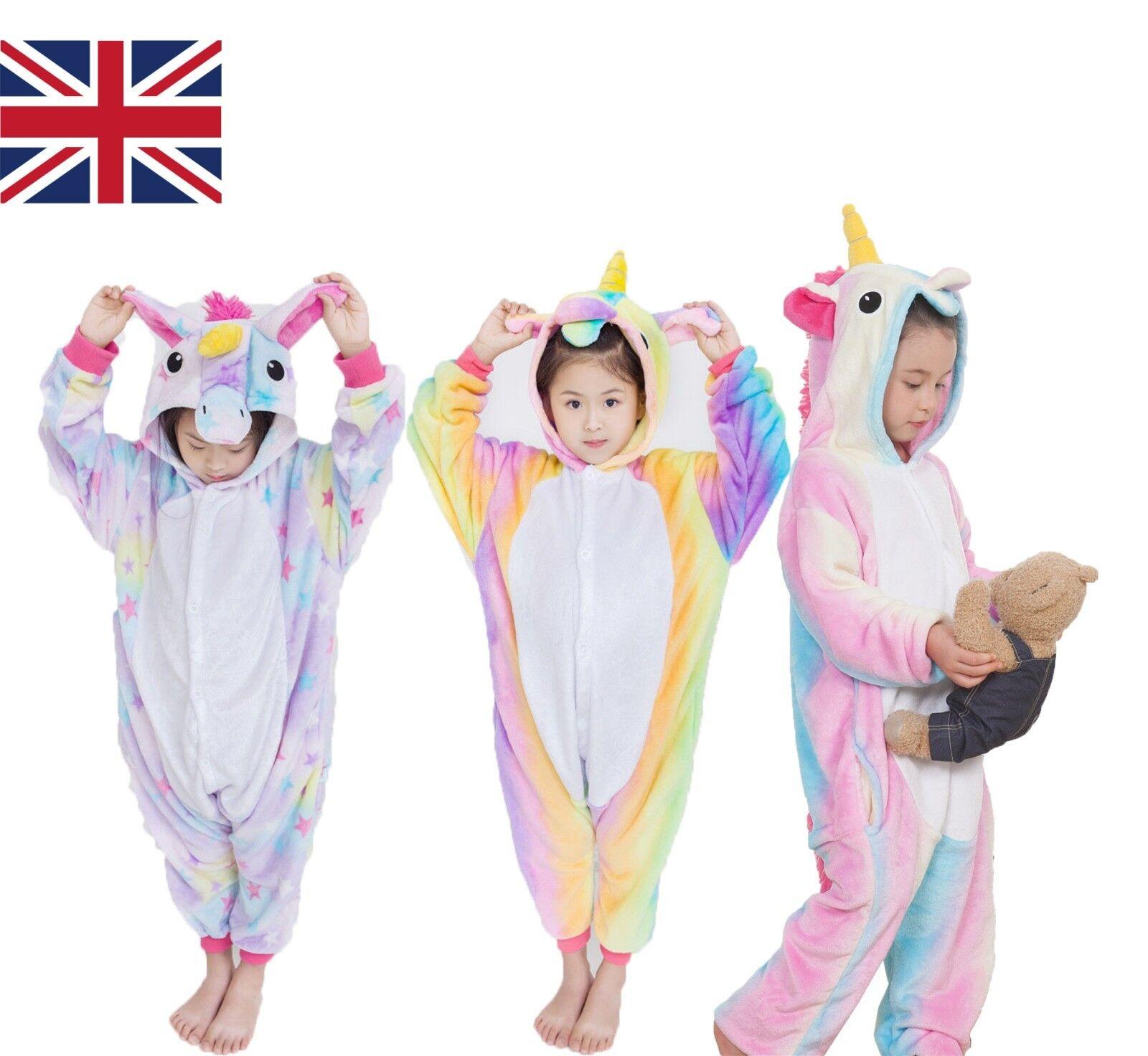Bambini Arcobaleno Unicorn kigurumi ANIMALE COSPLAY COSTUME onesie11 pigiama