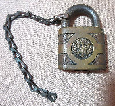 antique detailed brass bronze American bald eagle pad key lock hardware