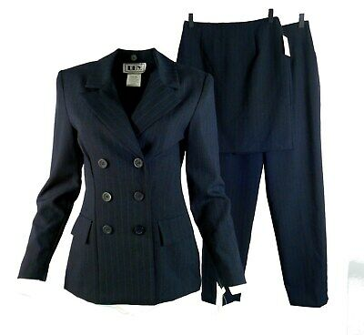 DBY Ltd. Womens Skirt Pant Suit Junior 5/6 3 Pc Double-Breast Pinstripe Blue New