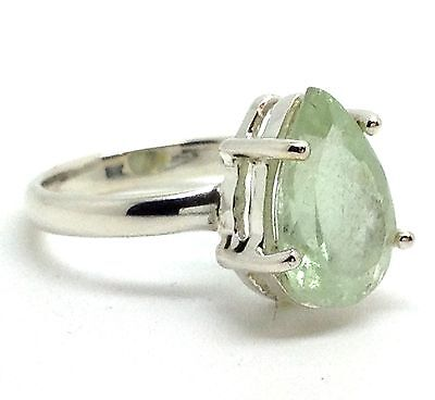 aquamarine faceted pearshape ring, solid Sterling Silver, uk size N, new.