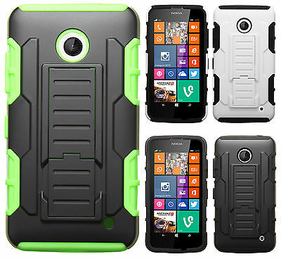 Cricket Nokia Lumia 630 HYBRID KICKSTAND Rubber Case Cover + Screen Protector ()