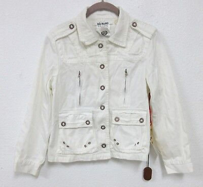 Da-Nang Überproduktion Del Mar Kinder Twill Jacke Knöpfe Weiß TWW445 Sz: M