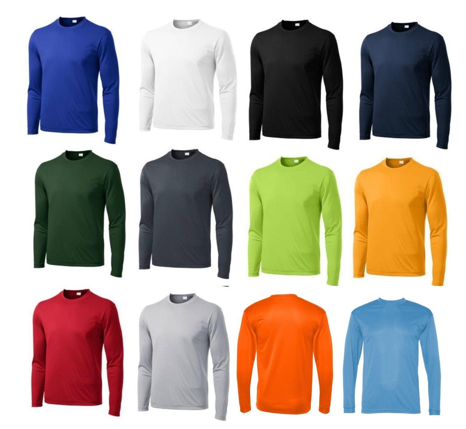 75f1ff9b59d MEN S MOISTURE WICKING Dri fit Long Sleeve SPORT-TEK T-shirt NEW XS-4XL  ST350LS