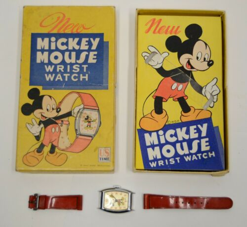 For Repair RARE US Time Mickey Mouse Wrist Watch w/o Ingersoll Branding Vtg