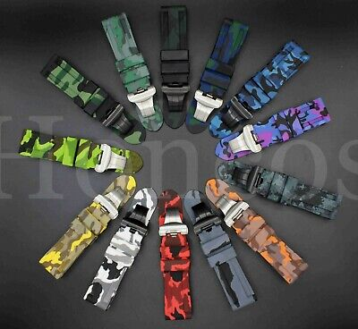 22 24 26 mm Camouflage Soft Rubber Plastic Band Strap fit Panerai Watch 44 45 47 Panerai Rubber Band