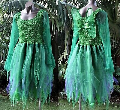 PLUS SIZE Fairy Dress Costume with Sleeves & Wings--Forest Green & Purple - Plus Size Green Fairy Costume