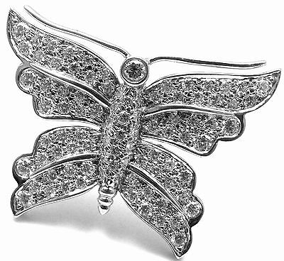 Rare! Authentic TIFFANY & CO Butterfly Platinum Diamond Pin Brooch