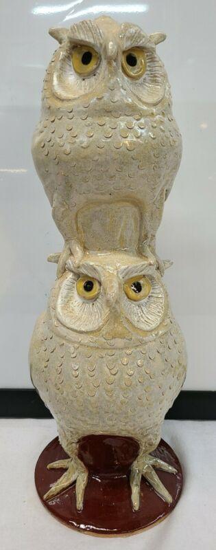 Marvin Bailey Indigenous Southern Primitive Folk Art Pottery Figural Owl Stacker