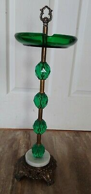 VINTAGE Green Glass ASHTRAY STAND Emerald Tone Gems Ornate Brass Marble Smoking