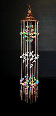 29  Multi Colored Sea Shell   Urchin Spine Wind Chime Chandelier With Woven Hat