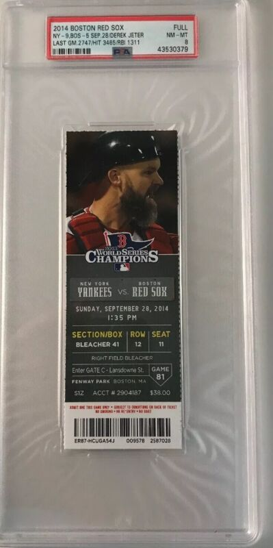 2014 Derek Jeter PSA Full Ticket MT Last GM/Hit /RBI/New York Yankees v Red Sox