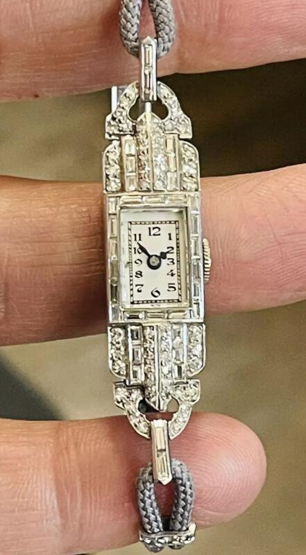 Antique Vintage Tissot Platinum Old Mine Cut Diamonds Watch Art Deco 18k