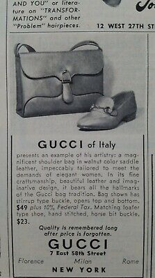 1955 Gucci of Italy women's vintage shoes purse handbag fashion ad