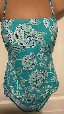 Swimming Costume Size 12 Blue Jantzen  Pattern Halter Or Strapless Padded Lined
