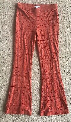 American Eagle Outfitters Boho Pants Flare Leg Elastic Waist Size M Festival -