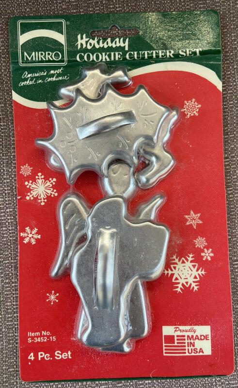 Vintage Mirro Aluminum Christmas Cookie Cutter Set of 4 NEVER OPENED. NIP