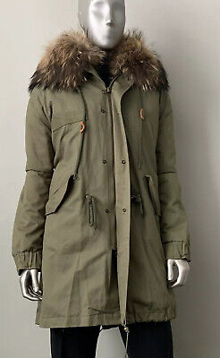 Mr & Mrs Parka Fox Fur Army Parka Coat Women's M Made In Italy