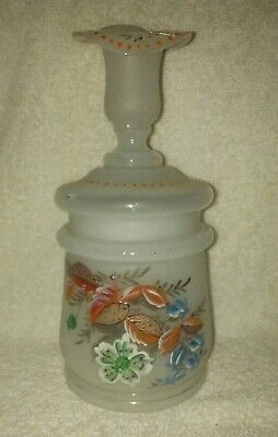 Antique Frosted Glass Lidded Bottle Jar Vanity HandPainted Flowers Candle Holder