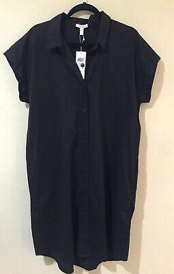 Eileen Fisher Women's High/Low Organic Cotton Shirtdress Dress Black Size L NWT