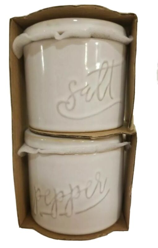 Enchante Accessories Ivory Ceramic Lidded Salt & PepperJar Set , Embossed, New