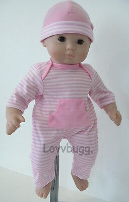 Pink Stripes Long Onesie and Hat 15 inch Bitty Baby Doll Clothes