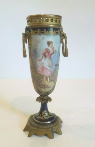 19th C. Sevres Style Porcelain Cabinet Vase, Cobalt & Gold, Ormolu Mount