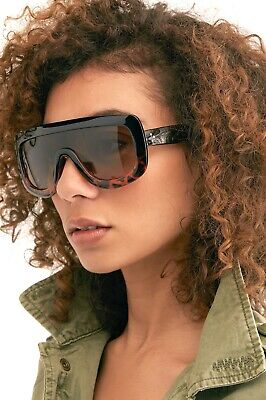 Free People Sunglasses Oversized Shield Brown Tortoise Plastic Brown Len (Free People Sunglasses)