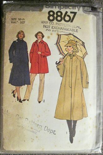 Vintage 1978 UNCUT Simplicity Coat or Jacket Pattern #8867 Size 18 1/2
