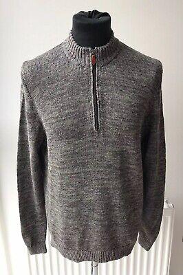 Inis Meáin Mens Linen Knit Half Zip Funnel Neck Jumper Grey Size Medium