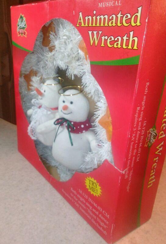 "Snowman Angels Wreath 18"" Plays Christmas Carol ""Silent Night"" Yule Rite"