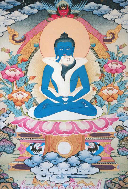 "50"" BLESSED BROCADE WOOD SCROLL TIBETAN HAPPY BUDDHA THANGKA : SAMANTABHADRA ="