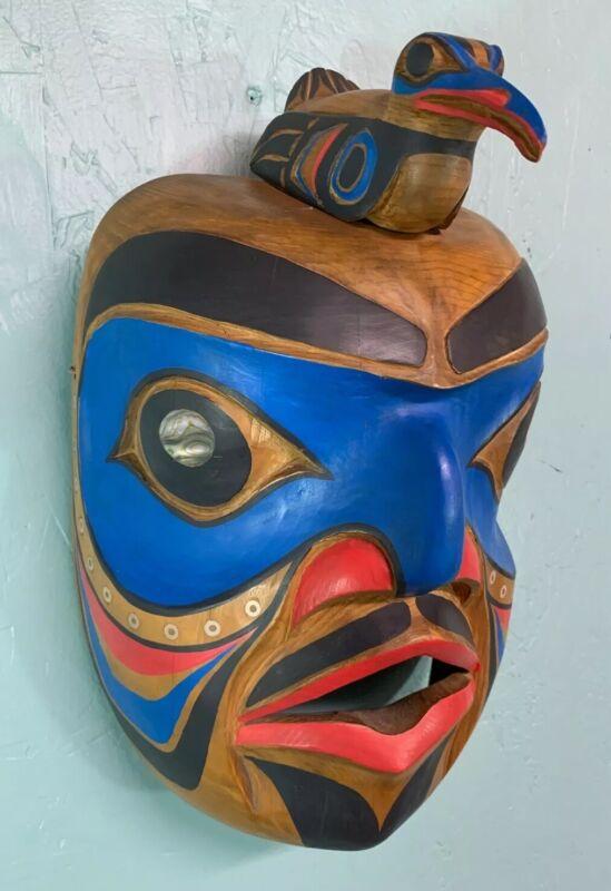 """Vintage Northwest Coast Wood Mask Humanoid """"Speaker"""" Hand Carved Abalone Eyes"""