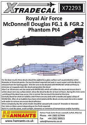 Xtra Decals 1/72 MCDONNELL DOUGLAS FG.1 & FGR.2 PHANTOM Jet Fighters Part 4