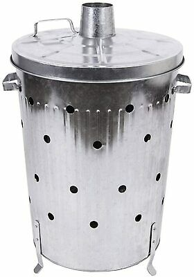 Galvanised dustbin incinerator 75 l fire drum fire bowl burner chiminea patio