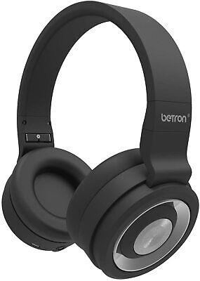 Betron BN15 Wireless Bluetooth Headphones with Mic Foldable On Ear Headset Black