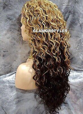 Spiral Curls Golden Blonde Brown Mix Heat Ok 3 4 Half Fall Wig Full Hair Piece