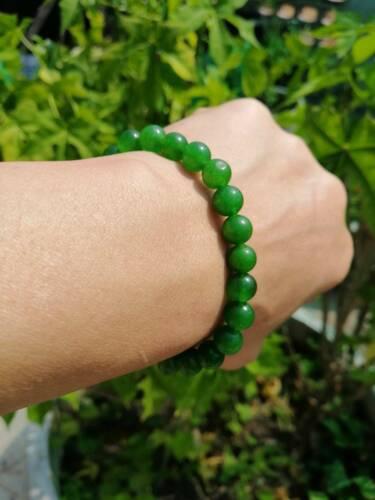 Natural Jade Jadeite Green Lucky Stone Bangle Beads Stretchy Bracelet Handmade