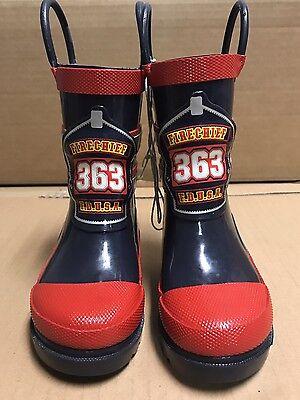 Fire Chief F.D.U.S.A. 363 Kids Boys Rain Boots Size 5 / 6 Red Grey Halloween Kids Fire Chief Rain Boot