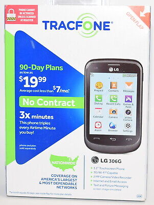 New TracFone LG 306G GSM No Contract Touchscreen 3G Phone Black