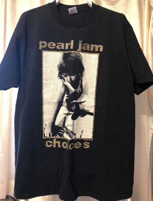 Vintage 1992 Pearl Jam Choices XL T Shirt Kids Prefer Crayons To Guns Rare