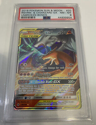 PSA 8 NM - MT RESHIRAM & CHARIZARD GX Pokemon Unbroken Bonds 20/214