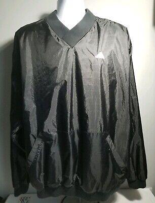 Adidas V-Neck Lined Pullover Windbreaker ~ Adult XL ~ Black ~ FREE SHIPPING!!