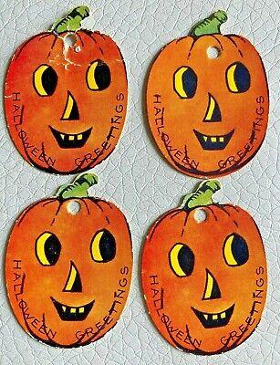 4 VINTAGE HALLOWEEN Party Gift String Hang Tag Cards, Smiling Jack O Lantern