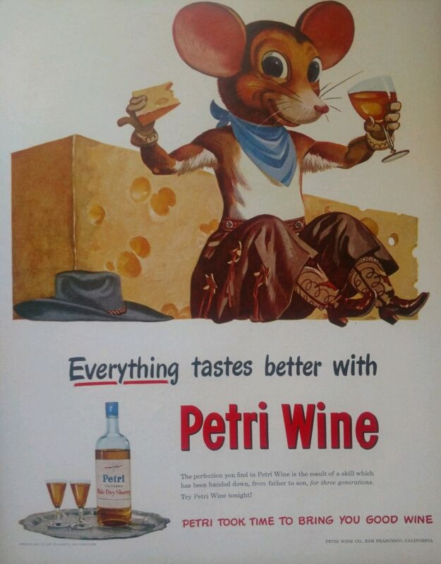 Vintage Petri Wine & Cheese Western Cowgirl Mouse Print Ad #1837