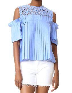 Blue pleated stylish top size XS
