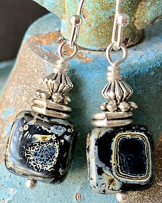 Etched Silver with Black Marbled Bead Dangle Earrings. Boho Chic Black Bead Drop Earrings