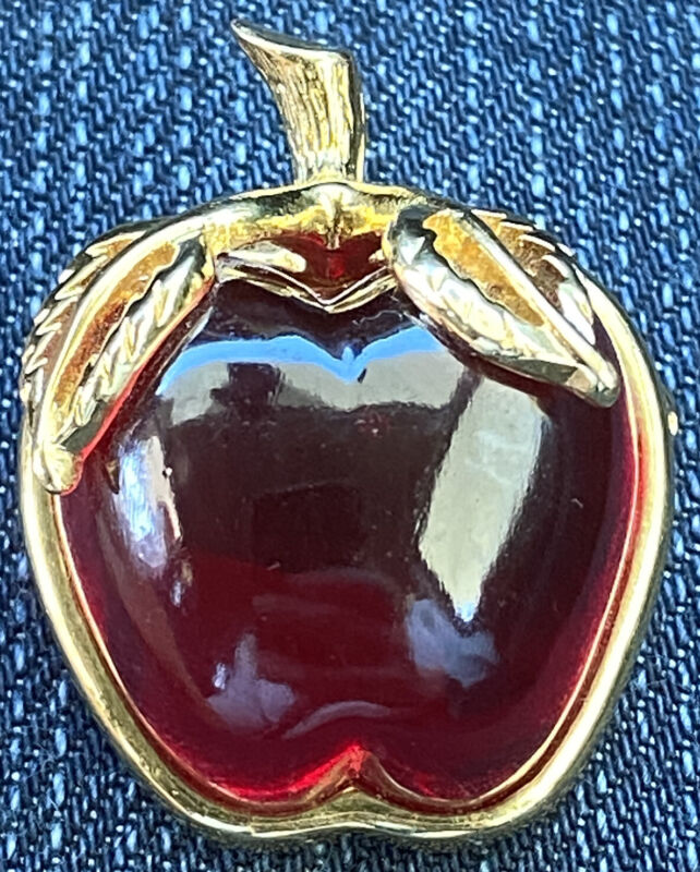Anne Klein Signed AK Lucite Red Apple Brooch Gold Tone Leaves Teacher Gift Fall