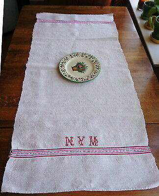 "Antique Rustic Grain Sack Table Runner  22"" X 48"" Red Blue Stripe Monogram NYM"