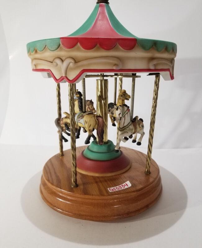 Brass & Procelin 4 Horse Carousel Merry Go Round Music AS/IS Sankyo Japan GS0334
