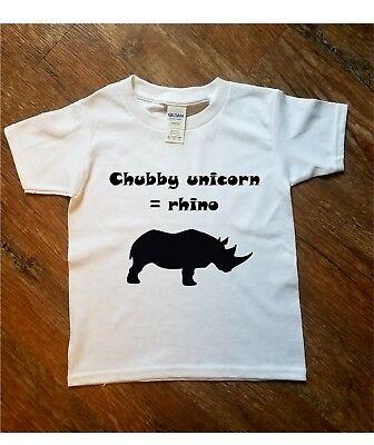 Chubby Unicorn Rhino Funny Fun Printed T Shirt Kids Cute Gift Toddlers Boys - Cute Chubby Teen